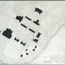 Campus map showing completed buildings and outlines of expansion plans