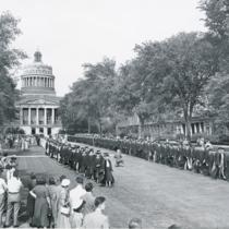 Academic procession on the Eastman Quadrangle