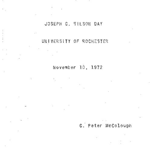 Speech at Wilson Day, 1972