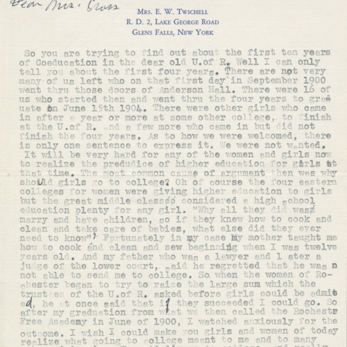 Letter from Vera Chadsey Twichell to Helen Rogers Cross