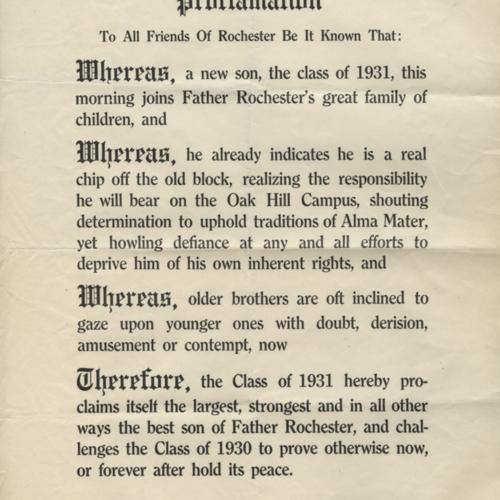 Freshman Class Proclamation