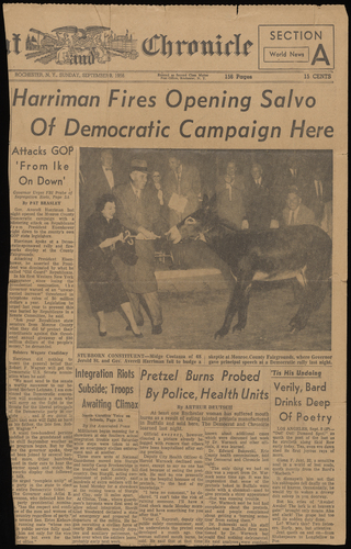 Newspaper clipping of Midge Costanza at a Democratic campaign event, Pat Brasley, Democrat and Chronicle, 1956-09-09