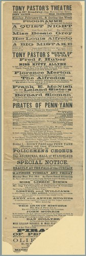 Playbill, Tony Pastor's Burlesque, The Pirates of Penn-Yann