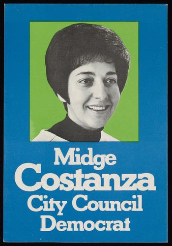 Midge Costanza's City Council campaign poster, c. 1972