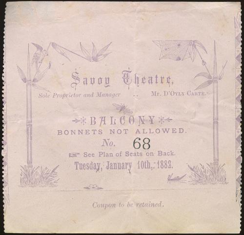 Ticket coupons, Savoy Theatre