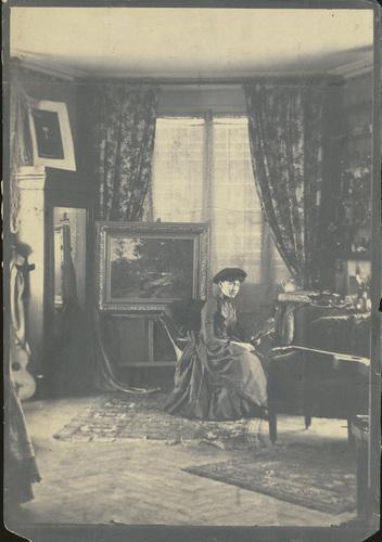 Photograph, Emma Lampert Cooper in her Paris studio, ca. 1886.