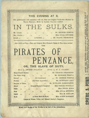 Program, Pirates of Penzance