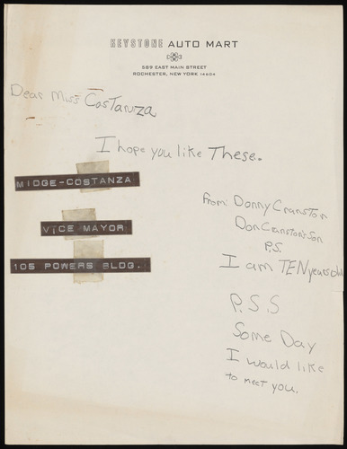 Letter from Danny Cranston to Midge Constanza, with 'Vice Mayor' labels