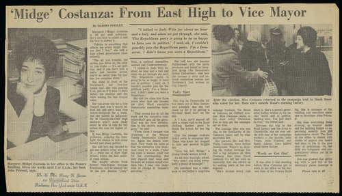 """Midge"" Costanza: From East High to Vice Mayor, Marsha Stanley, 1973"